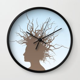 Woman with branches in her hair Wall Clock