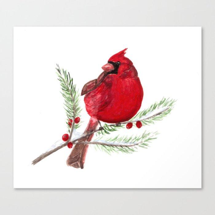 Cardinal Christmas Art Canvas Print By Ahockenberry Society6