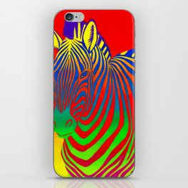 Colorful Psychedelic Rainbow Zebra iPhone Skin