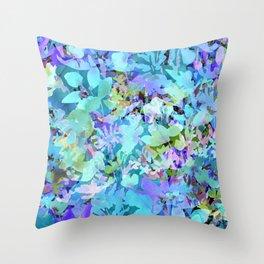 Sky Blue Poppies Throw Pillow