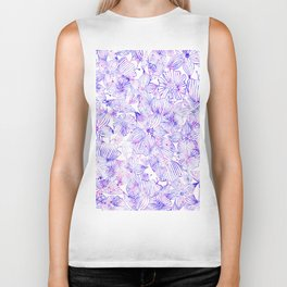 Modern hand painted lavender blush pink watercolor floral Biker Tank