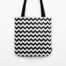 Black and White Chevron Print Tote Bag