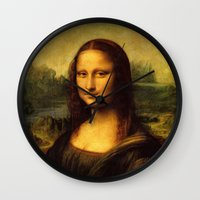 mona lisa Wall Clocks featuring Mona Lisa by Elegant Chaos Gallery