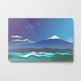 Mont Taranaki From The Sea Metal Print