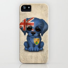 Cute Puppy Dog with flag of Turks and Caicos iPhone Case