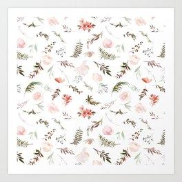 Tropical coral pink green watercolor floral Art Print