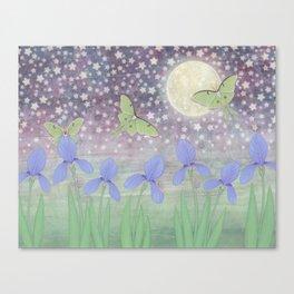 luna moths around the moon with starlit irises Canvas Print