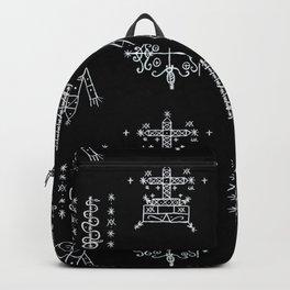 Papa Legba + Baron Samedi + Gran Bwa + Damballah-Wedo Voodoo Veve Symbols in Black Backpack