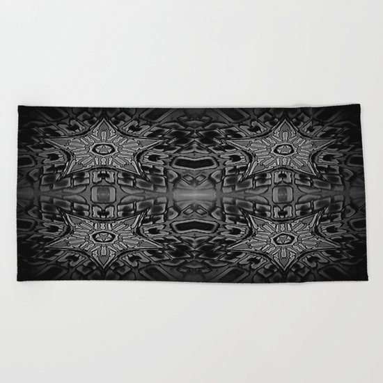 Black Gothic Stars Beach Towel