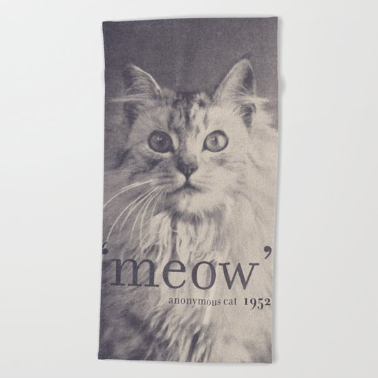 Famous Quotes #2 (anonymous cat, 1952) Beach Towel