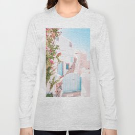 Santorini Greece Mamma Mia Pink House Travel Photography in hd. Long Sleeve T-shirt