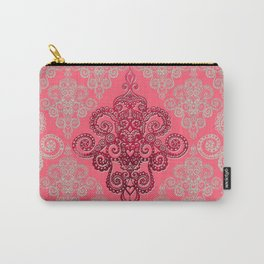 red&grey Baroque Pattern on gentle raspberry Carry-All Pouch