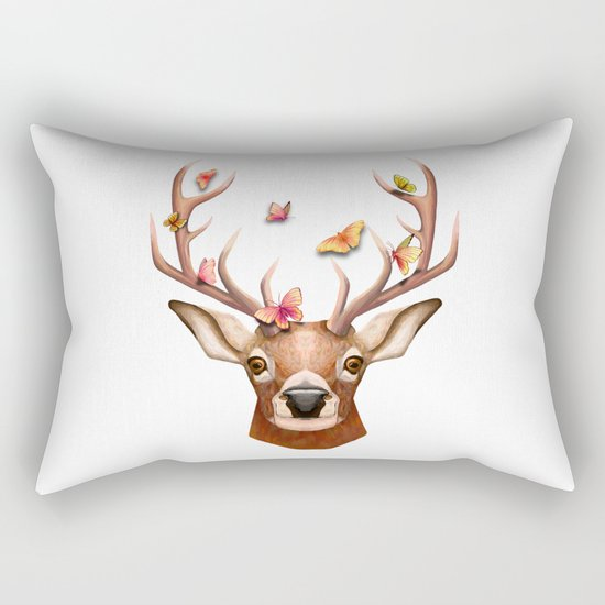 Stag and the Butterflies  Rectangular Pillow