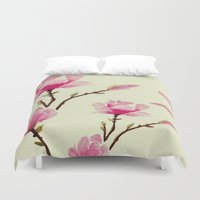 craftberrybush Duvet Covers featuring Pink Magnolia  by craftberrybush