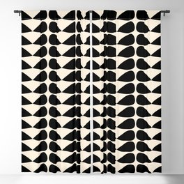 Mod Leaves Mid Century Modern Abstract Pattern in Black and Almond Cream Blackout Curtain