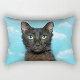 Portrait of a Green Eyed Black Cat Rectangular Pillow