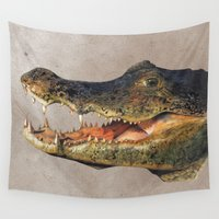 crocodile Wall Tapestries featuring Crocodile by Anna Milousheva