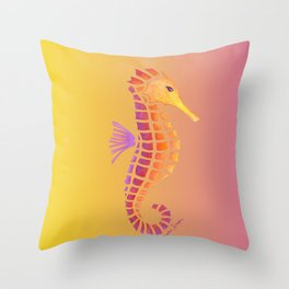 Sunset Seahorse Throw Pillow