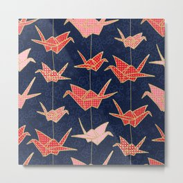Red origami cranes on navy blue Metal Print