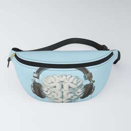Mind Music Connection /3D render of human brain wearing headphones Fanny Pack