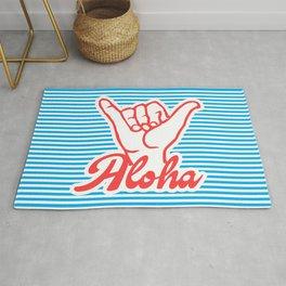 Aloha, Shaka Hand, blue version, summer poster, Rug