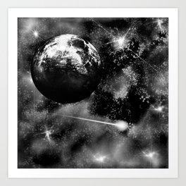 Alien planet black and grey Art Print