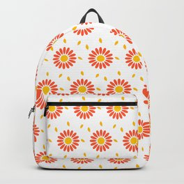 Modern orange yellow hand painted floral pattern Backpack