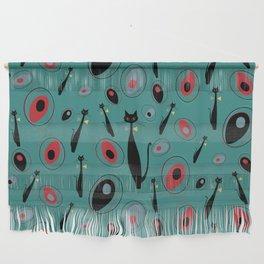 Mid-Century Modern Art Atomic Cats 1.3 Teal Pattern Wall Hanging