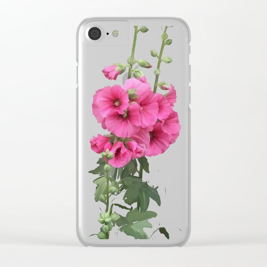 Pink flowers, watercolors Clear iPhone Case