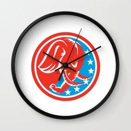 Angry Elephant Head Side Shield Retro Wall Clock
