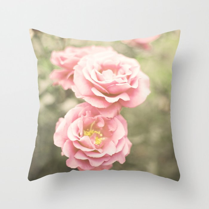 Haze Roses (Retro and Vintage Flower Photography) Throw Pillow