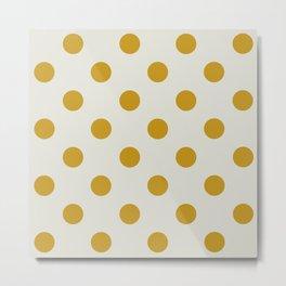 White ad Mustard Polka Metal Print
