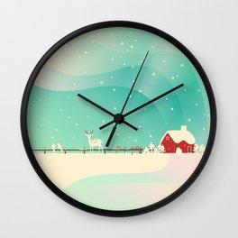 Peaceful Snowy Christmas (Teal) Wall Clock