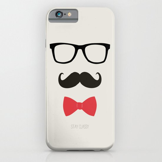 STAY CLASSY - MUSTACHE & BOW TIE  iPhone & iPod Case