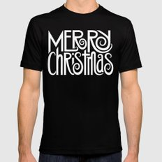 Merry Christmas Text White MEDIUM Black Mens Fitted Tee