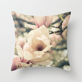 Magnolia Tree Bloom.  Flower Photography Throw Pillow