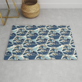 The Great Wave of Pug Pattern Rug