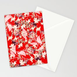 Floral Burst in Red Stationery Cards