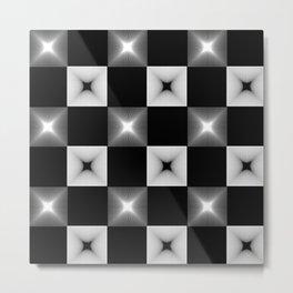Black And White Illusion Pattern Metal Print