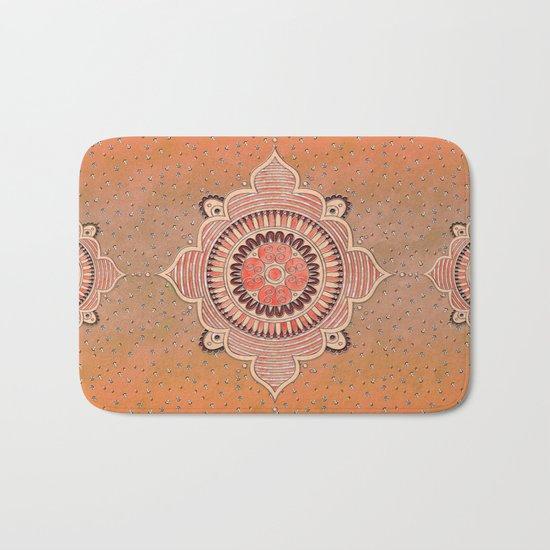 Mandala ornament orange Bath Mat