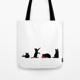 Cats Black on White Tote Bag