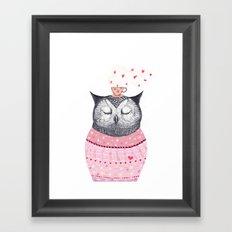 Owl lover of coffee Framed Art Print