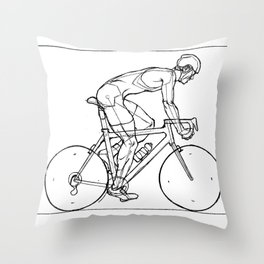 Transitions through Triathlon Cyclists Drawing B Throw Pillow