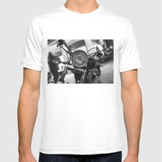 Motorcycle White Mens Fitted Tee MEDIUM