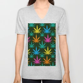 Colorful Marijuana weed Unisex V-Neck