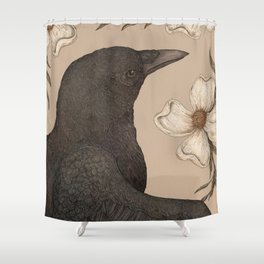 The Crow and Dogwoods Shower Curtain
