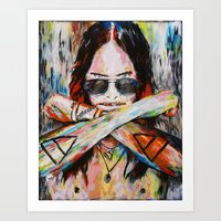 30 seconds to mars Art Prints featuring Jared Leto 30 Seconds To Mars Original Acrylic Painting by RockChromatic