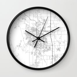 Minimal City Maps - Map Of Fort Collins, Colorado, United States Wall Clock