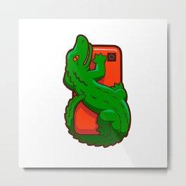 Cartoon crocodile on a cell phone Metal Print
