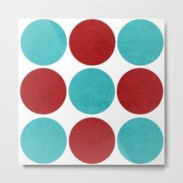 modern dots - aqua and red Metal Print